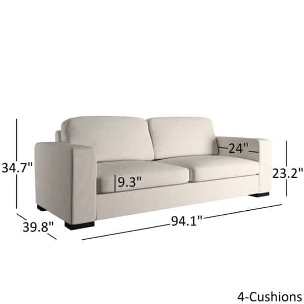 Modern White Fabric Down-filled Sofa