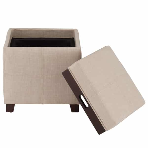 Fabric Ottoman with Reverse Tray