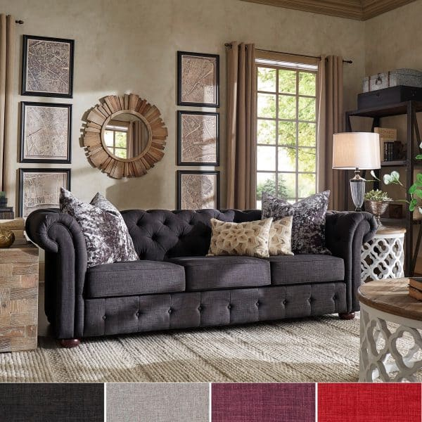 Knightsbridge Tufted Scroll Arm Sofa