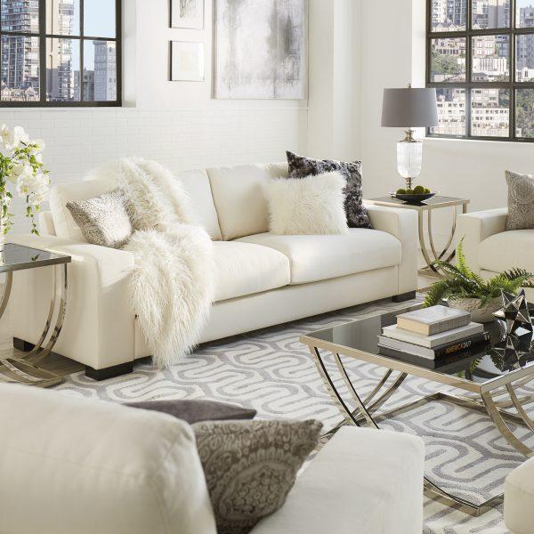 Modern White Fabric Down-filled Sofa