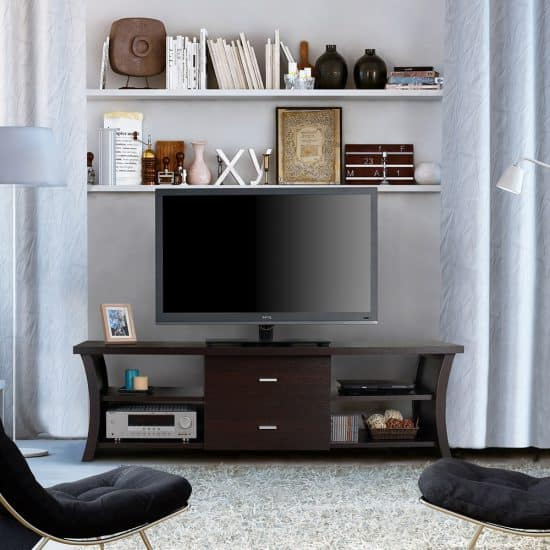 Modern 2-drawer TV Stand with Open Shelving