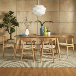 Modern Oak Tapered Dining Set