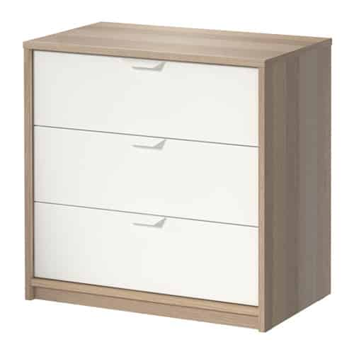 3-Drawer Chest, White Stained Oak Effect