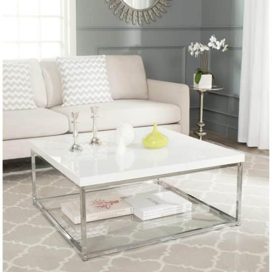 Modern White/ Chrome Coffee Table