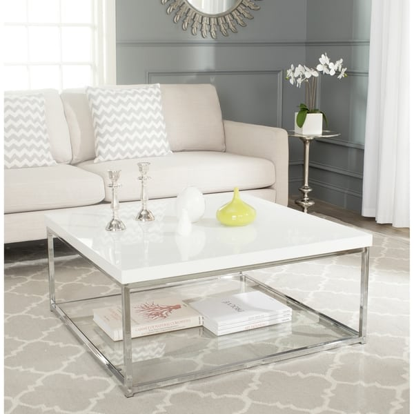 Modern White/ Chrome Coffee Table