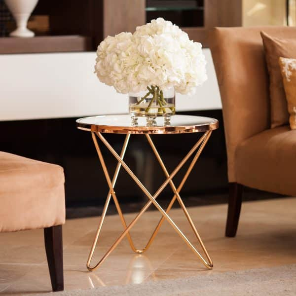 Rose Gold and Glass Top End Table
