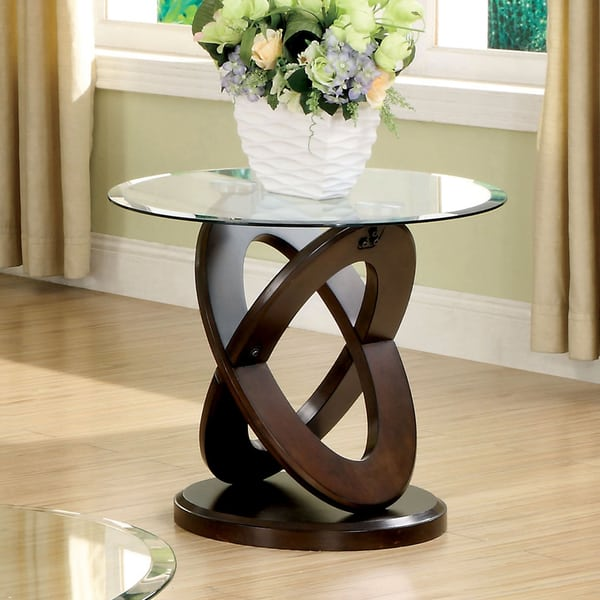 Evalline Round Glass Top End Table