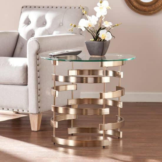 Round Champagne End Table