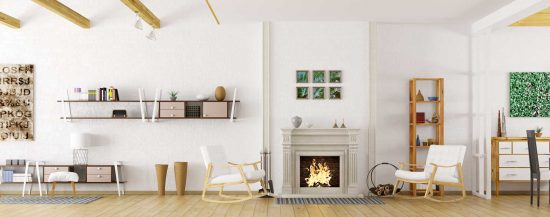 White background with fireplace
