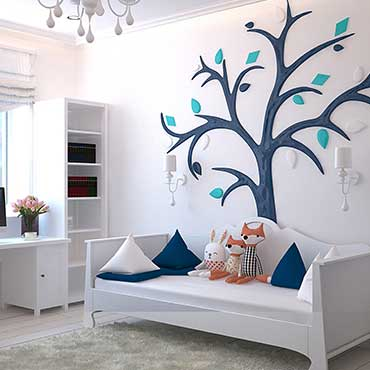 white kids furniture with tree background on wall