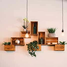 wall hanged cabinets with pots and plants