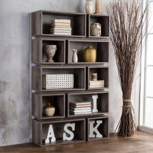 Grey 10-Shelf Open Bookcase