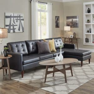 Black Button Tufted Leather sofa