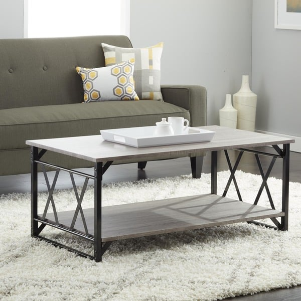 Grey Coffee Table with Double 'X' Frame