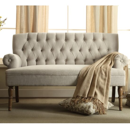Tufted-Upholstered-Settee