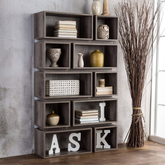 Grey 10-Shelf Open Bookcase